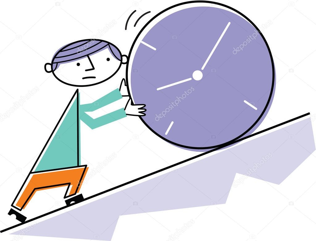 Man pushing clock uphill  Stock Photo #12008696