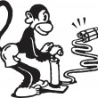 A black and white version of a monkey igniting dynamite - Stockfoto