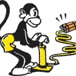 Monkey igniting dynamite — Stock Photo