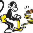 Stock Photo: Monkey igniting dynamite