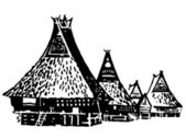 A black and white version of a vintage illustration of traditional huts — Stock Photo
