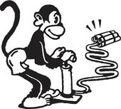 A black and white version of a monkey igniting dynamite — Stock Photo