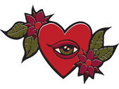 A stencil of a heart with and eye and flowers — Stock Photo