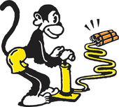 Monkey igniting dynamite — Stock Photo