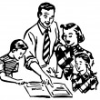 A black and white version of a vintage illustration of a family working together — Stock Photo