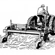 A black and white version of a vintage illustration of a man tending to fields with a tractor — Stock Photo #12090371