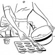 A black and white version of a vintage illustration of a woman baking muffins — Stock Photo