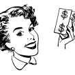 A black and white version of a graphical portrait of a woman with wads of cash — Stock Photo #12090879