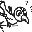 A black and white version of a bird sitting on a branch with question marks - Stock Photo
