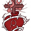 A stencil of a pierced heart surrounded with thorns and a flaming cross in it — Stock Photo