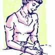 A vintage style portrait of a woman writing a note — ストック写真