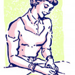 A vintage style portrait of a woman writing a note — Foto de Stock