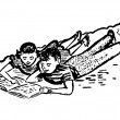 A black and white version of a vintage illustration of two children doing homework together — Stock Photo #12091802