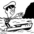 A black and white version of a cartoon style vintage illustration of a small man in a boat — Stock Photo