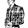 A black and white version of a vintage illustration of a man in a plaid shirt — Stock Photo