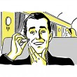 A vintage drawing of a man using an electric shaver on a train — Stock Photo