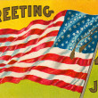 4th of july vintage postcard with flag — Stock Photo