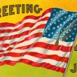 Stock Photo: 4th of july vintage postcard with flag
