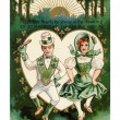 A vintage St. Patricks Day card with a Irish boy and girl doing a jig — Stock Photo #12092337