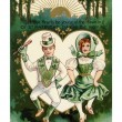 Vintage St. Patricks Day card with Irish boy and girl doing jig — Stock Photo #12092337