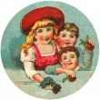 Antique image of three children — Stock Photo