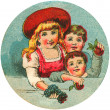 Antique image of three children — Foto de Stock
