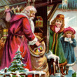 Stockfoto: Vintage Christmas card of SantClaus delivering gifts to two girls