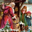 Royalty-Free Stock Photo: Vintage Christmas card of Santa Claus delivering gifts to two girls