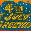 4th of July vintage postcard with fireworks - 图库照片