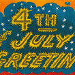 Stock Photo: 4th of July vintage postcard with fireworks