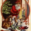 Vintage Christmas card of Santa Claus with gifts,checking to see if a child is asleep — Stock Photo