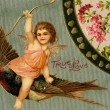 A vintage True Love Valentine with Cupid riding a sparrow — Stock Photo #12092529