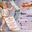 Vintage Valentine postcard with a cupid newspaper boy - Stock Photo