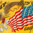 Fourth of july postcard with an eagle and flag — ストック写真