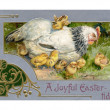 Stockfoto: Vintage Easter postcard of hen and chicks