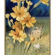 Stockfoto: Vintage Easter postcard of spring flowers, rabbit and eggs