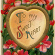 A vintage To My Sweet Heart Valentines card — Stock Photo