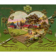 Royalty-Free Stock Photo: A vintage card of a rural Irish landscape in a heart shaped frame