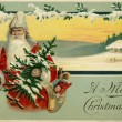 Vintage Christmas card of SantClaus in snowy winter scene — Photo #12093178