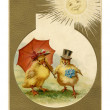 A vintage Easter postcard of a duckling and chick dressed up for Easter — Stock Photo
