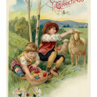Vintage Easter postcard of two boys on Easter egg hunt — Photo #12093374