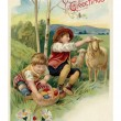 Vintage Easter postcard of two boys on Easter egg hunt — Stock Photo #12093374
