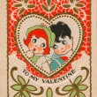 Stock Photo: Vintage valentine with boy and girl