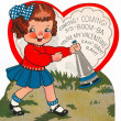 A vintage valentine of a girl with a blowhorn — Stock Photo