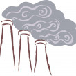 Vents emitting smoke, polluting the surrounding area — Stock Photo