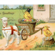 Vintage Easter postcard of chick riding on Easter wagon pulled by lamb — Stock Photo #12093843