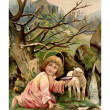A vintage Easter postcard of a little angel with a lamb by the river with a church in the background — Foto de Stock