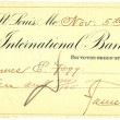 Vintage cheque with a stamp on it — Stock Photo