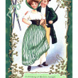 An Irish poem printed on a vintage card with an illustration of a dancing couple — Stock Photo