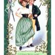 Stock Photo: An Irish poem printed on a vintage card with an illustration of a dancing couple